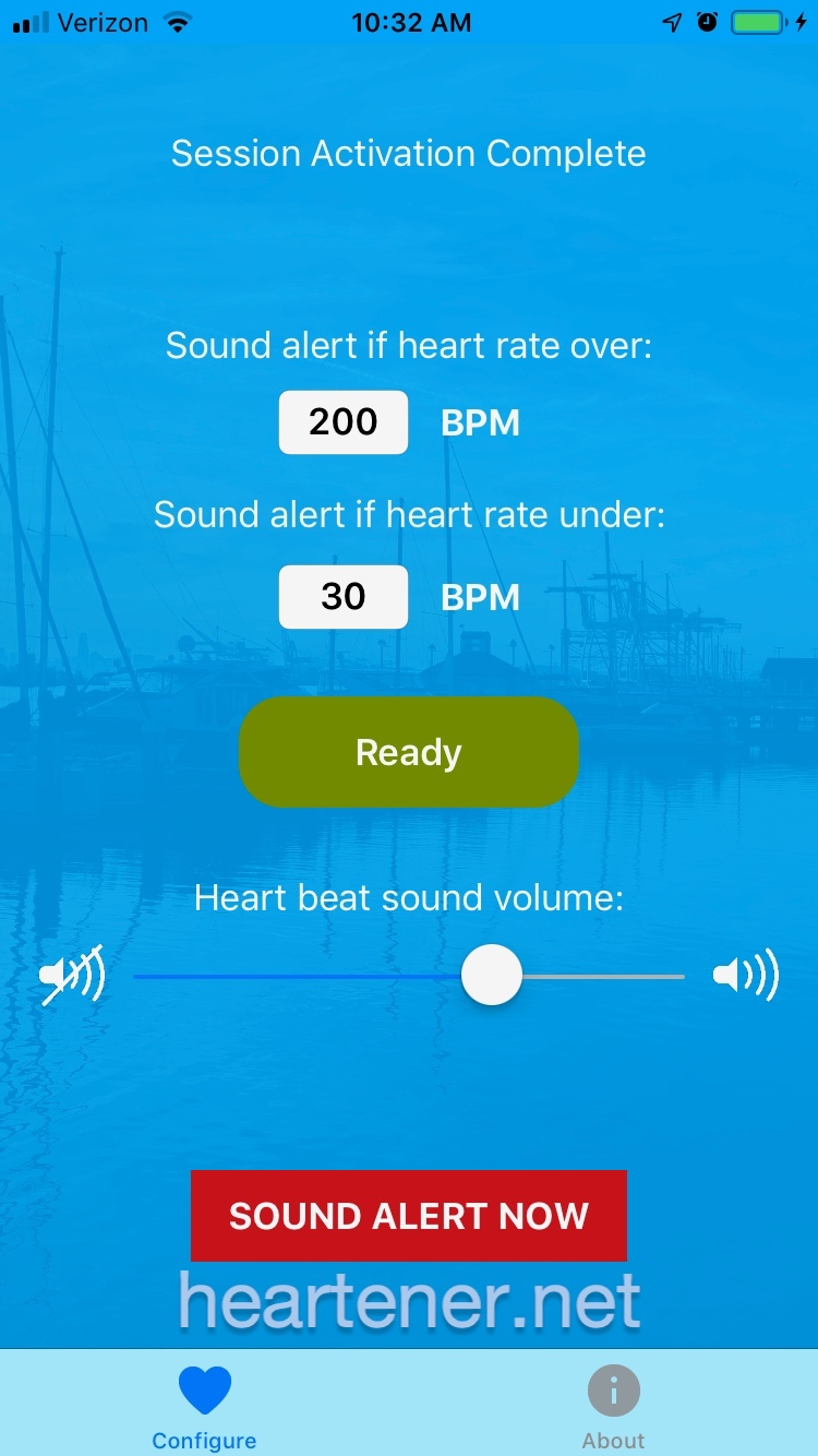 Configure and heart rate display screen